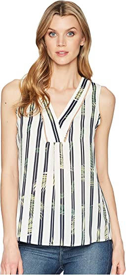 Printed Georgette Sleeveless V-Neck with Trimming Detail