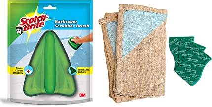 Scotch-Brite Bathroom Brush with Abrasive Fiber Web (Green) + Scotch-Brite Floor Cleaning Cloth (Pack of 2) and Scrub Pad Large (Pack of 3)