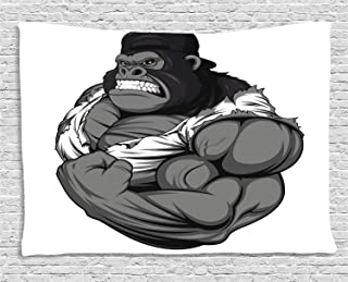 Ambesonne Cartoon Tapestry, Image of Big Gorilla Like as Professional Athlete Bodybuilding Gym Animal, Wide Wall Hanging for Bedroom Living Room Dorm, 80