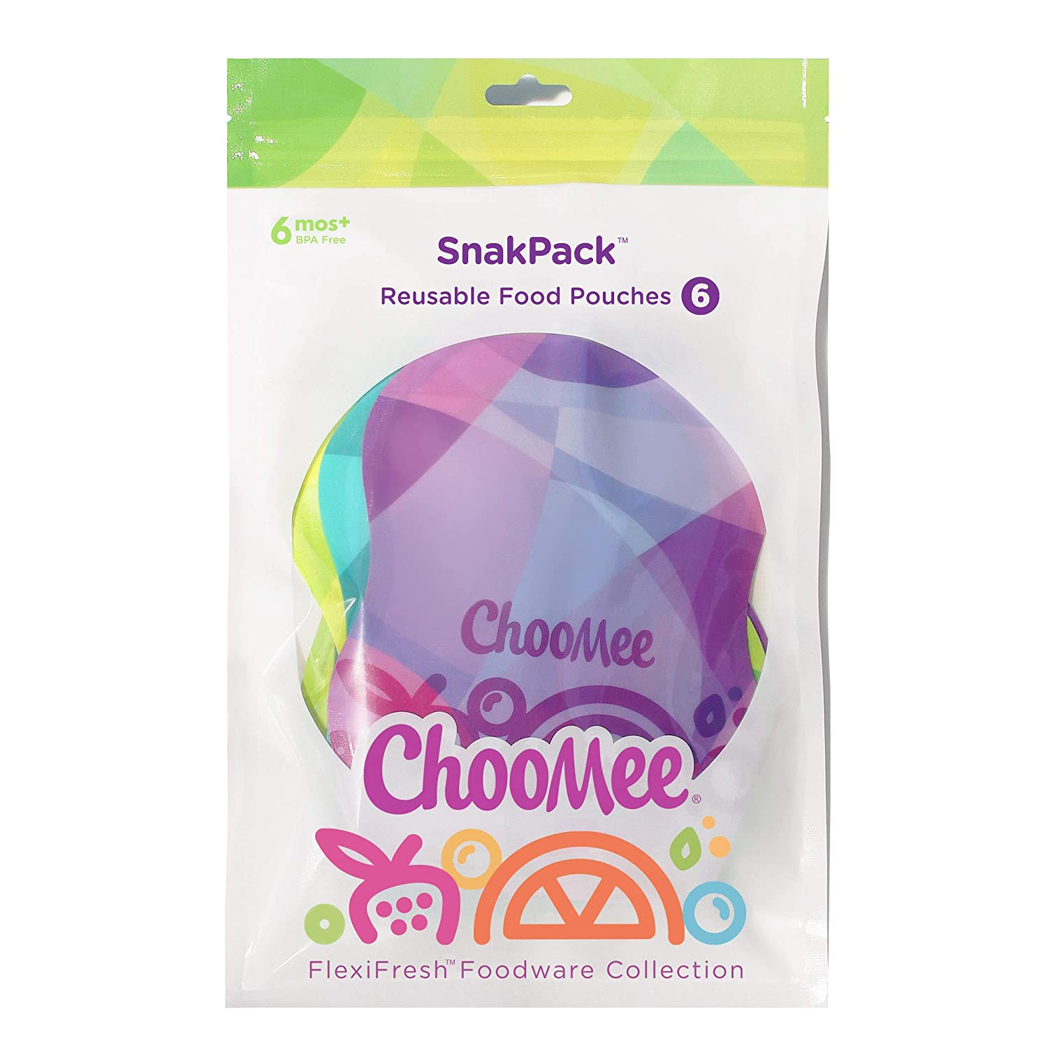 ChooMee Smoothie Project by Weelicious + SnakPack Reusable Food Pouches - New!   6 CT, 8 oz   TropiColor Design, Ideal for Purees, Smoothie Blends and Baby Food