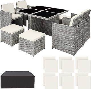 TecTake 800857 Conjunto de Muebles de Jardín en Ratán Sintético, Set de 4X Sillas 4X Sillones Puf y Mesa, Incl. Fundas Intercambiables, Tornillos de Acero Inoxidable (Gris Claro)