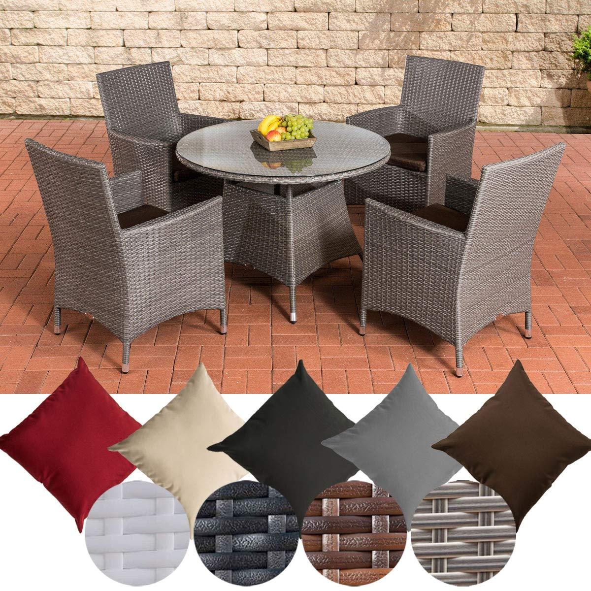 CLP conjunto mesa y sillas de jardín Sanremo (resina trenzada, aluminio, 4 sillas + mesa redonda diámetro 100 cm, cojines incluidos), color de ratán: gris, revestimiento: Tierra marrón: Amazon.es: Hogar