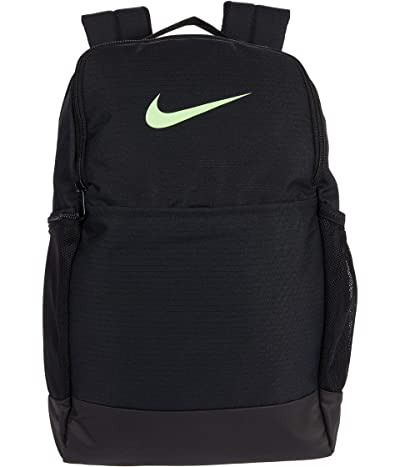 Nike Brasilia Medium Backpack 9.0 (Black/Black/Lime Blast) Backpack Bags