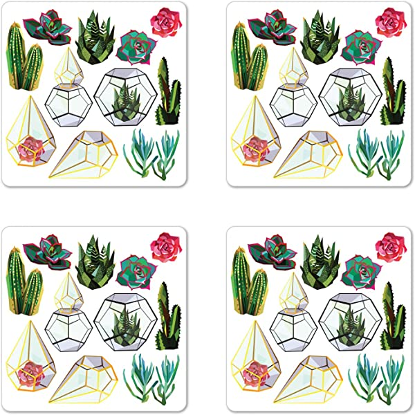 Lunarable Botanical Coaster Set Of 4 Low Polygonal Cacti Succulents And Flowers Geometric Terrariums Garden Art Image Square Hardboard Gloss Coasters For Drinks Multicolor