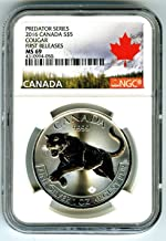 2016 Canada COUGAR .9999 Silver 1oz FIRST RELEASES Landscape Label Coin PREDATOR SERIES $5 MS69 NGC