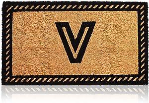Coco Coir Initial Letter V Monogram Doormat (30 x 17 in)
