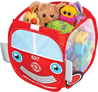 Smart Design Kids Pop Up Organizer w/Animal Print - VentilAir Mesh Netting - for Toddlers, Baby Clothes, Plushies, Toys - Home Organization - Cube - (10.5 x 11 Inch) [Red Fire Truck]