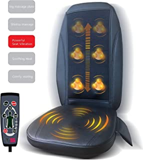 New TS, Premium Heating Full Back Shiatsu Kneading & Vibrating Massage - Seat Cushions -- Maximize Comfort During Travel, At Home and Office