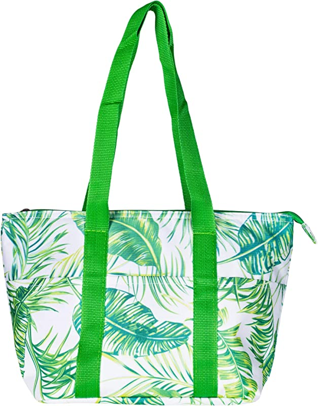 Insulated Palm Tree Leaves 15 X 10 Microfiber Fabric Reusable Lunch Tote Bag