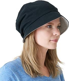 Womens Organic Cotton Sun Hat - Reversible Colour Slouch Beret Japanese Design Chemo Hat