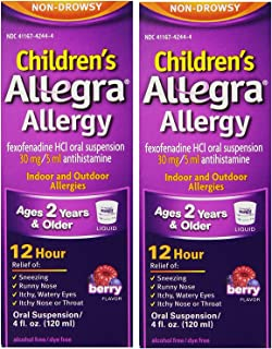 Allegra Childrens 12 Hour Allergy Relief, Berry, 4-Ounce (Pack 2) by Allegra