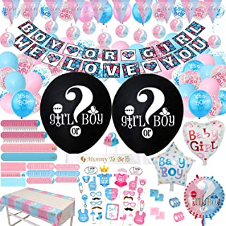 Gender Reveal Party Supplies & Decoration Set - (318 Pieces) 36 Inch Reveal Balloon, Boy or Girl Banner, Mom Sash, Candy Stickers, Hanging Spiral Decorations, Photo Props, Foil Balloons and Boy Or Girl Balloons, Triangle Flag Banner, Team Girl & Boy Stickers, Tablecloth, Cake Topper Much More
