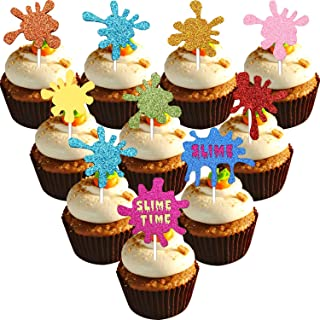 46 Pieces Slime Cupcake Toppers Slime Time Cake Toppers Glitter Cupcake Topper Picks for Slime Themed Birthday Party Baby Shower Party Decorations