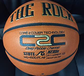 The Rock Official Women's 28.5 Composite Leather Basketball - Used by Top Colleges - Superior Air Retention and Durability - Patented Pebble Design - w/ Certificate of Authenticity