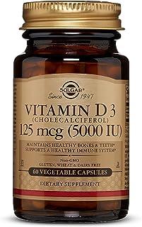 Solgar Vitamin D3 (Cholecalciferol) 125 mcg (5,000 IU) Vegetable Capsules - 60 Count
