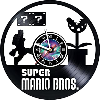 Super Mario Brothers – Vinyl Record Wall Clock - Original Present For Fans -Artwork unique home bedroom living room nursery wall decor great gifts idea for birthday, wedding, anniversary - customize y