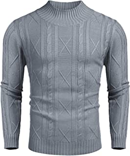 Men's Slim Fit Mock Neck Sweater Basic Casual Ribbed Knitted Pullover Sweater