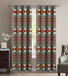 Rustic Western Southwestern Native American Window Curtain Drapes Set with Thermal Insulation and Grommets in Turquoise Blue Brown Native American Tribal Patterns - Utah Thermal Curtain Set Turquoise