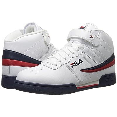 Fila F-13V Leather/Synthetic (White/Fila Navy/Fila Red) Men