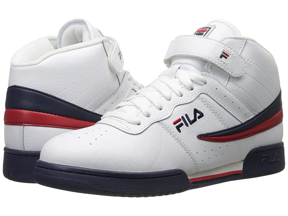 Fila F-13V Leather/Synthetic (White/Fila Navy/Fila Red) Men's Shoes