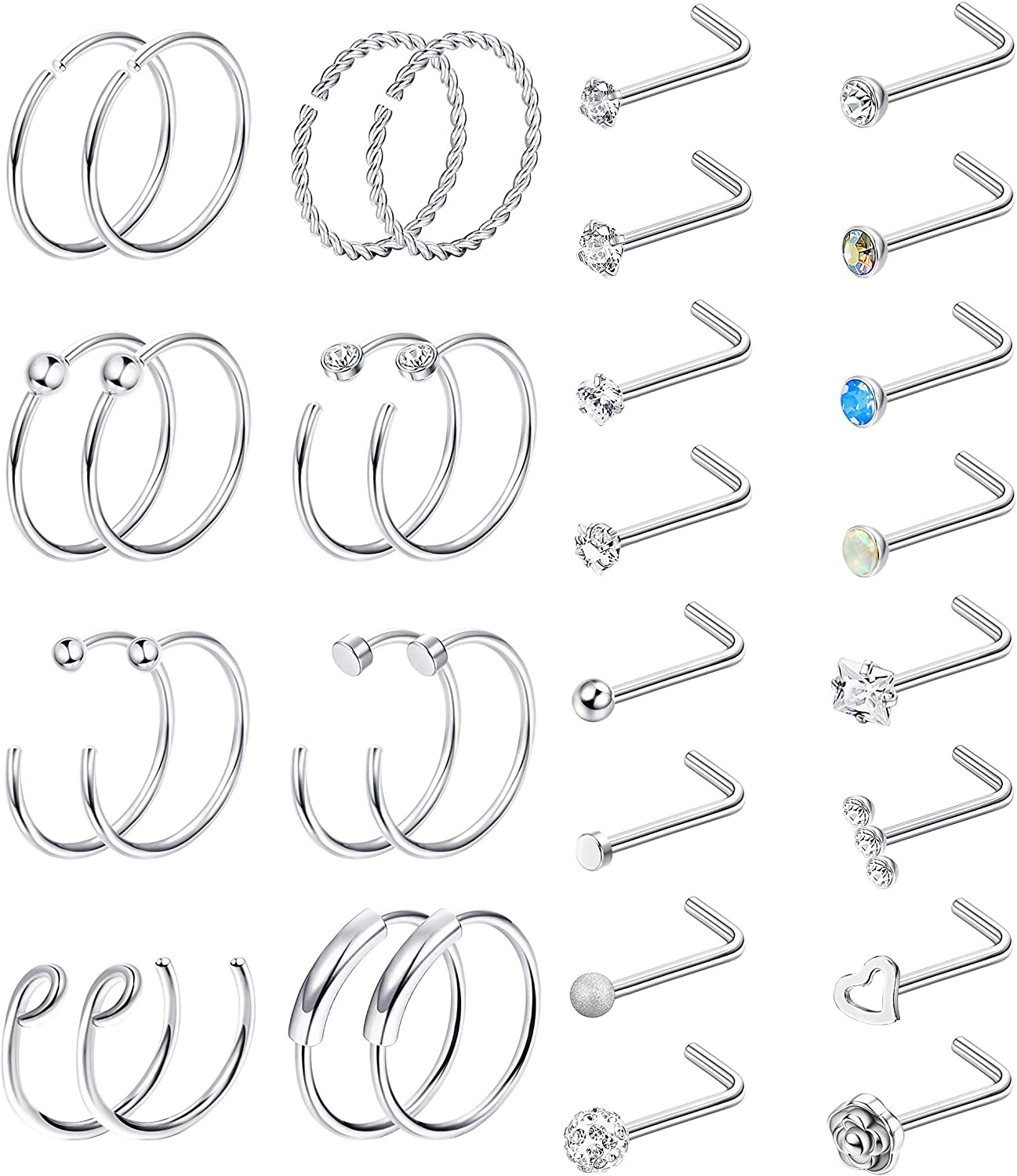 Subiceto 20G Stainless Steel Nose Rings Bone L Screw Shape Nose