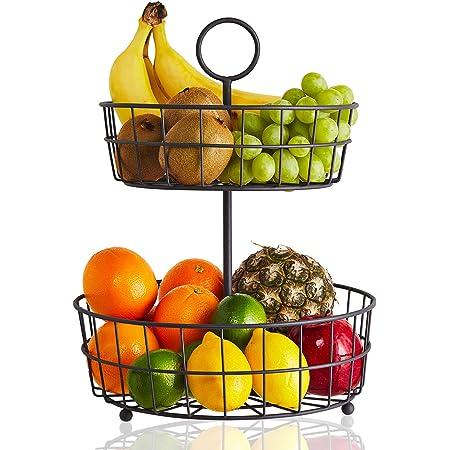 SANDS 2 Tier Vintage Chrome Stainless Steel Fruit Vegetables Bowl Hammock Basket Rack Holder Organizer Kitchen Storage Stand