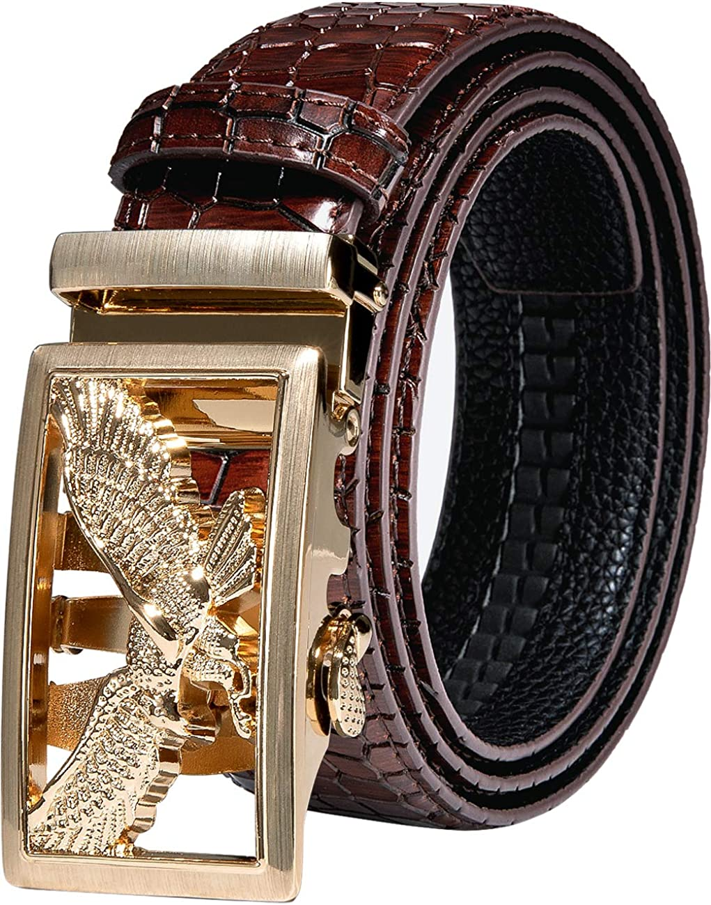 Mens Selling and selling Gold Buckle Belt YOHOWA Los Angeles Mall Automatic Ratchet Cowhide Buck