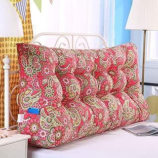 CASUALBOYS Bedside Triangle Cushion Pillow Lumbar Pillow for Sofa Bed Garden Bench Cushion Red-100cm