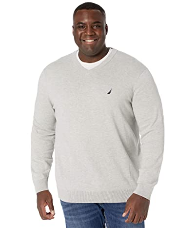 Nautica Big & Tall Big Tall Sweater V-Neck (Medium Grey Heather) Men