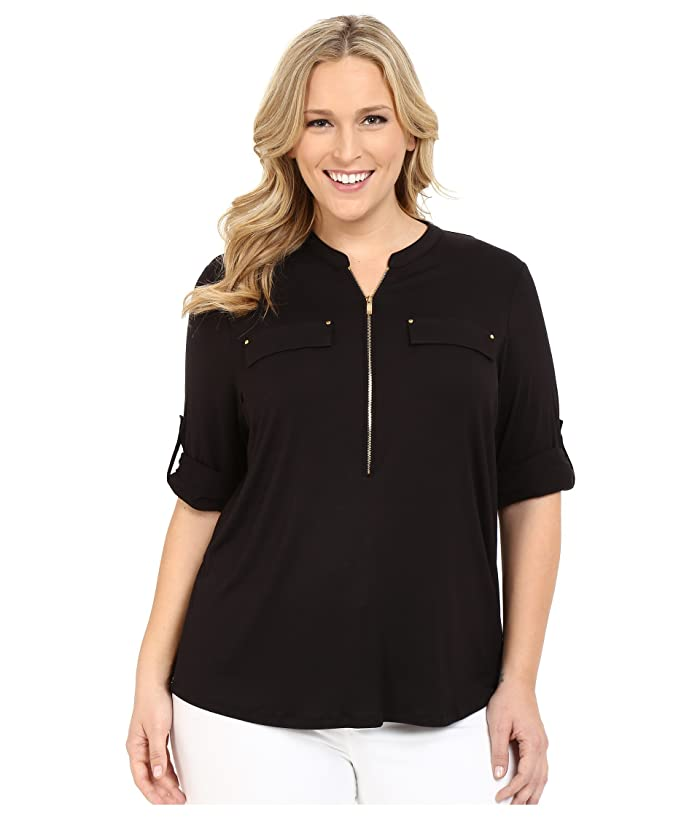 Plus Size Zip Front Roll Sleeve (Black) Women's Blouse