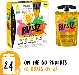 GoGo squeeZ BlastZ Fruit Pouches on the Go, Tropical Burst, 3.88 Ounce (24 Pouches), Gluten Free, Vegan Friendly, Healthy Snacks, Unsweetened, Recloseable, BPA Free Pouches