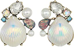 Betsey Johnson - Seashell and Stone Cluster Stud Earrings
