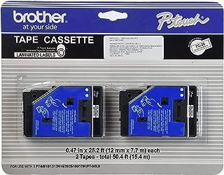 "2/Pack 1/2"" (12mm) Black on White P-Touch TC Tape for Brother PT-10, PT10 Label Maker"