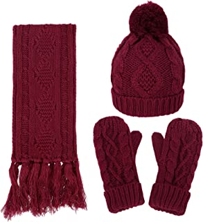 Women's Winter 3 Piece Cable Knit Beanie Hat Gloves & Scarf Set