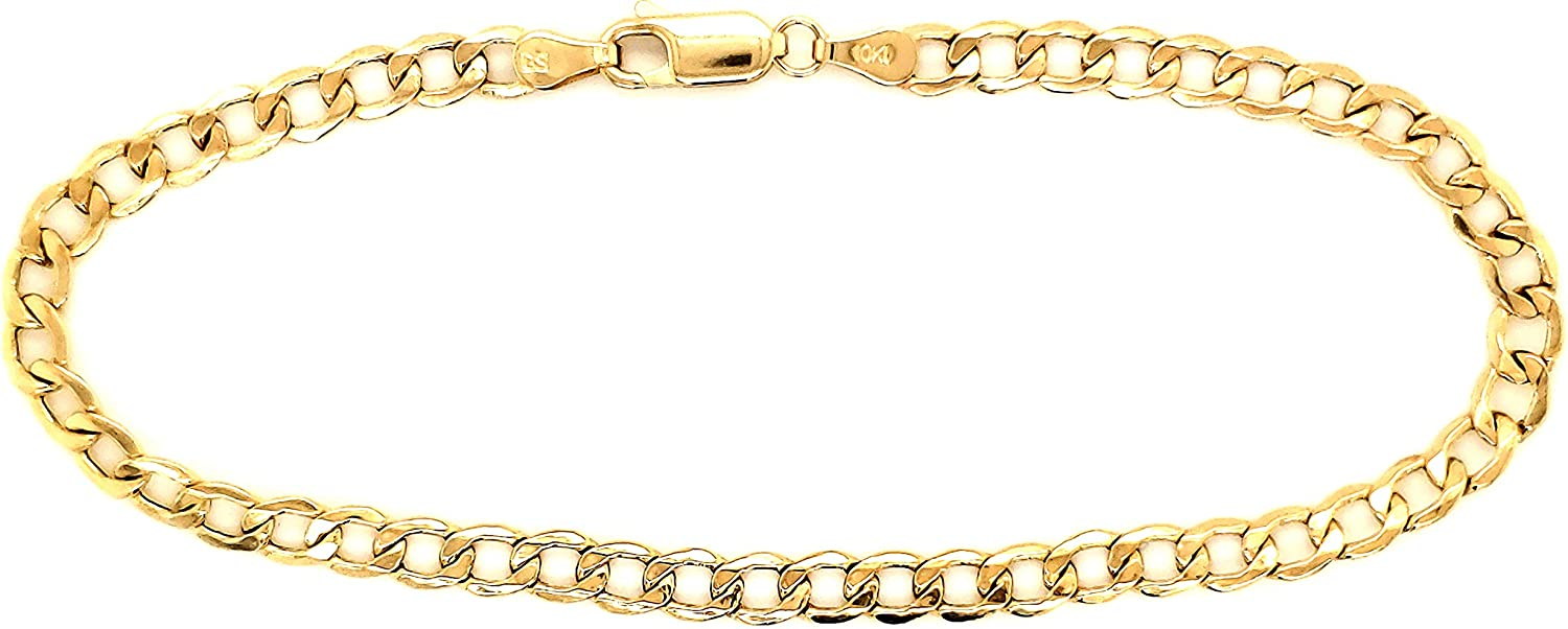 Real 10k Yellow Gold New item Hollow C-Link Anklet Women Tulsa Mall 3.5 Bracelet and