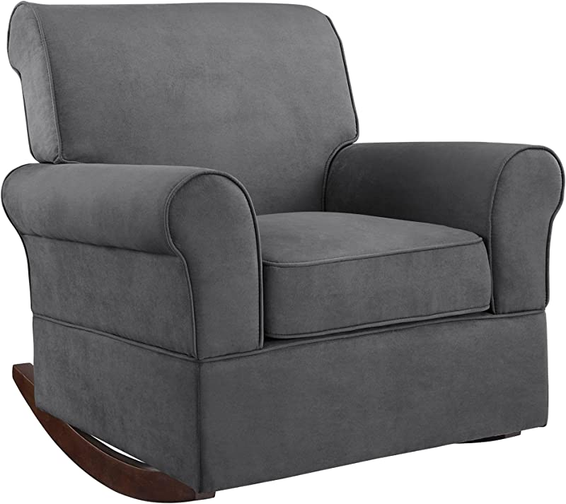 Baby Relax The Mackenzie Microfiber Plush Nursery Rocker Chair Grey