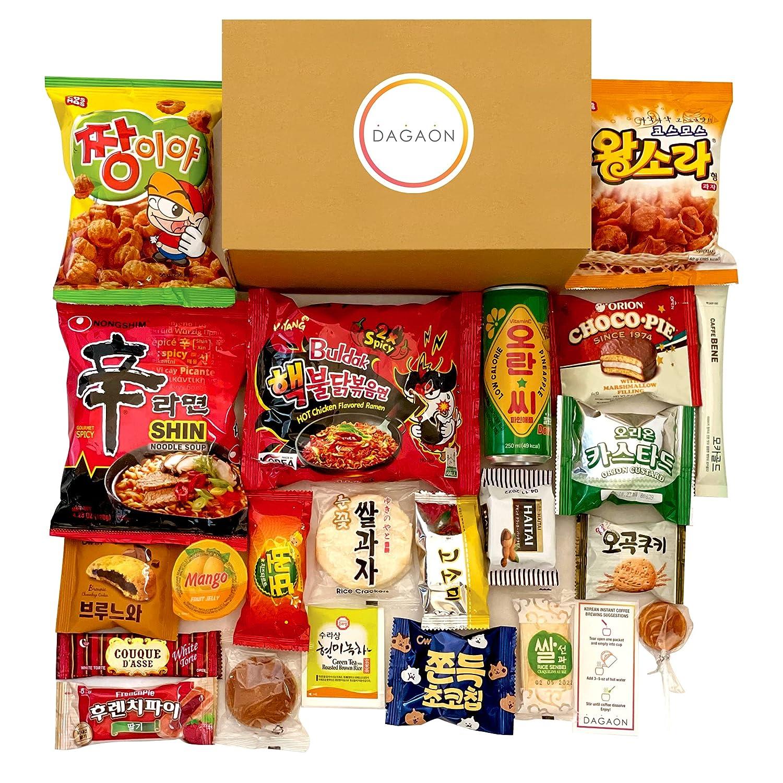 Dagaon Delightful Korean Snack Box 22 Count – Tasty Korean Snacks and Foods Including Chips, Biscuits, Cookies, Pies, Candies, Drinks, Ramen Noodles. Assortment of Korean snacks and foods for everyone.