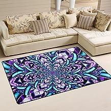 MASSIKOA Purple Blue Mandala Area Rug Rugs Non-Slip Indoor Outdoor Floor Mat Doormats for Home Decor 31 x 20 Inches