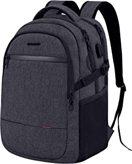KROSER Laptop Backpack 15.6 Inch Ultra Light Computer Backpack Stylish Water-repellent College Backpack with USB charging Port & Headphone Interface for Work/Travel/School/Business-Charcoal Black