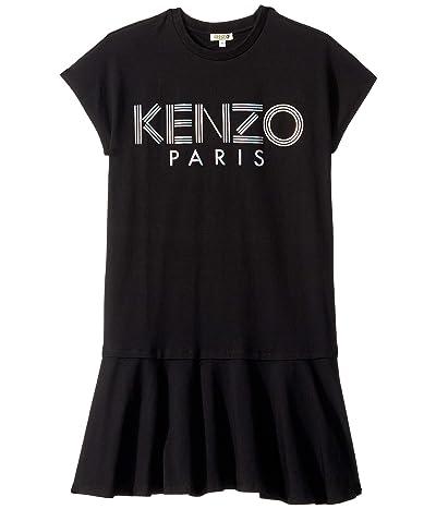 Kenzo Kids Short Sleeved Dress with Logo in Metallic Ink (Big Kids) (Black) Girl