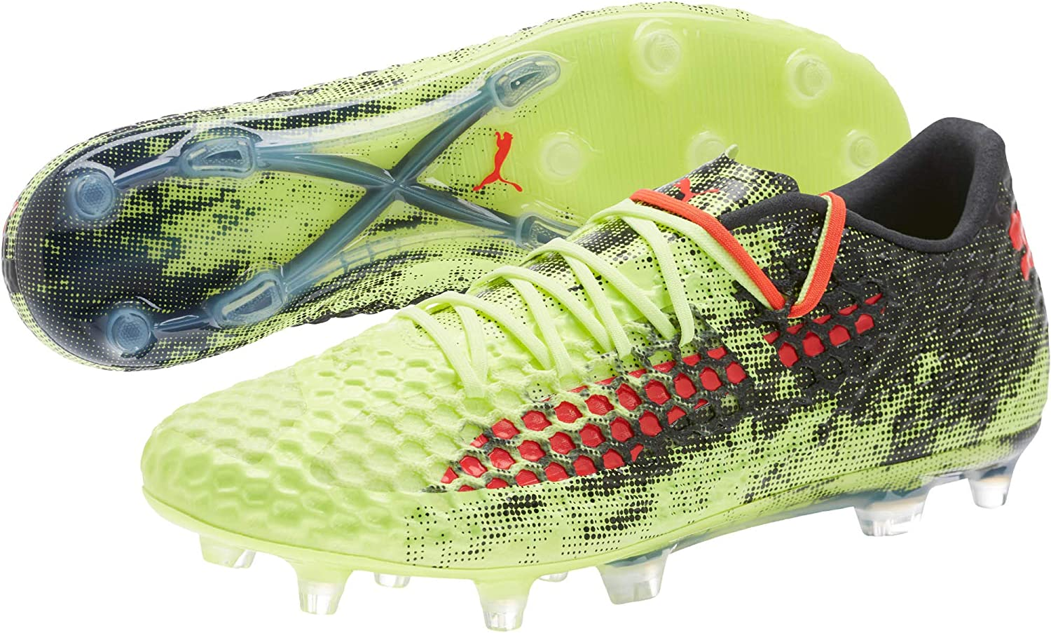 PUMA Future 18.1 Netfit Low FG AG Soccer Cleats Men's Size 7-13 Yellow Red Black 104980-01