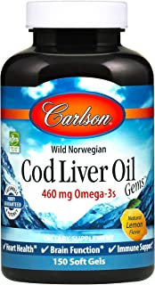Carlson - Cod Liver Oil Gems, 460 mg Omega-3s + Vitamins A & D3, Wild-Caught Norwegian Arctic Cod-Liver Oil, Sustainably S...