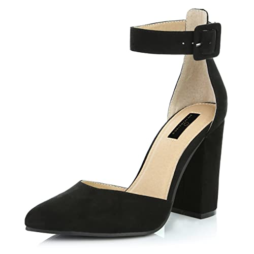 027f349a5bb02 DailyShoes Women's Fashion Pointed Toe Chunky Ankle Strap Buckle High Heels  Shoes