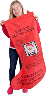 """Clever Creations Oversized Christmas Stocking Mailed from Santa Claus Red and Black with Postage Stamp Print 