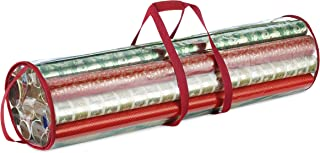 Whitmor Clear Gift Wrap Tube - Wrapping Paper Tube Bag for Storing Multiple Rolls of Gift Wrap and Crafting Materials – Perfect for Xmas Gift Packaging – Includes Handles and Hanging Hook