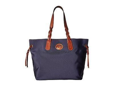 Dooney & Bourke Nylon Shopper (Midnight Blue/Tan Trim) Tote Handbags