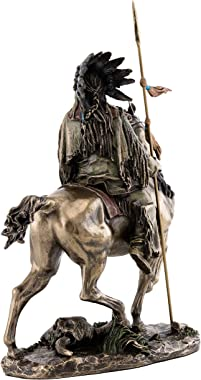 Top Collection Cheyenne Indian Riding Horse Statue - Native American Sculpture in Premium Cold Cast Bronze - 10.75-Inch Colle