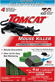 Tomcat Mouse Killer Refillable Bait Station for Indoor Use - Child Resistant, 1 Station with 4 Baits (Box)