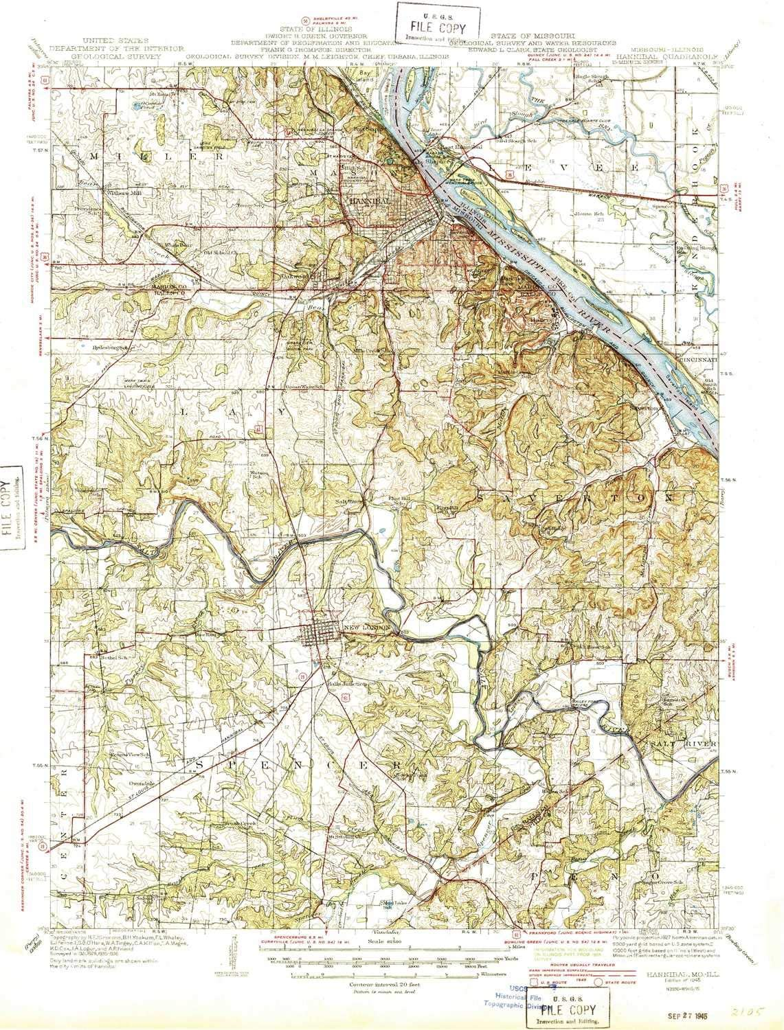 Amazon Com Yellowmaps Hannibal Mo Topo Map 1 62500 Scale 15 X 15 Minute Historical 1945 20 8 X 15 9 In Polypropylene Sports Outdoors