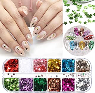 VOLODIA 12 Colors Star Nail Sequins Flakes 3D Glitter Sparkly Heart Nail Art Decorations Spangles Paillettes Slice Acrylic...